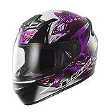 LS2 FF351 FF352 - Casco integral de mujer para motocicleta, diseño ondulante de color rosado y violeta