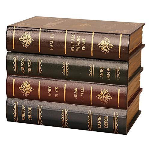 Golden.Y Caja Fuerte para Libros con Cerradura de combinación, Sujetalibros Antiguos de Madera con Apariencia de Libro, con Caja de Almacenamiento Oculta.