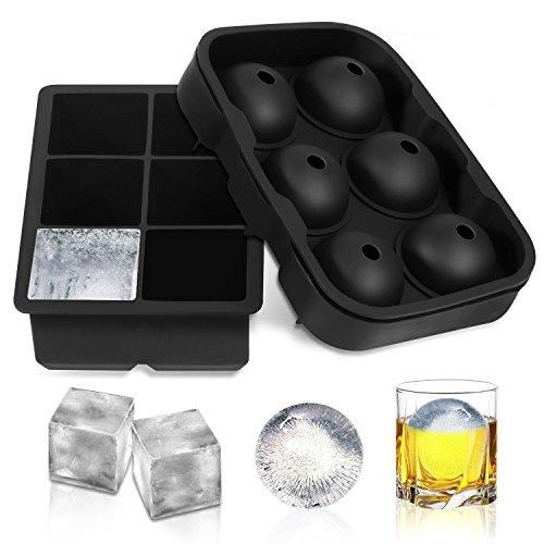 2Set Ice Cube Tabletts, Silikon Ice Cube Maker BPA-frei Runde Ice Ball und große Platz Ice Cube Form für kühle Burbon Whiskey, Cocktail, Getränke 6Raster