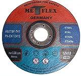 10 Stück Inox Trennscheibe für Stahl, Metall, Edelstahl 125 x 1,0 x 22.23 mm T41 A60 Metflex
