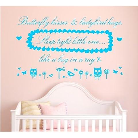 Butterfly Kisses Hugs e coccinella, da parete, adesivo murale, da camera, per bambini, larghezza 100 cm azzurro