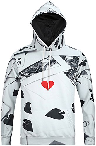 Nylon-print-mantel (Pizoff Unisex Hip Hop Sweatshirts druck Kapuzenpullover mit Farbkleks 3D Digital Print Poker Y1760-01-L)