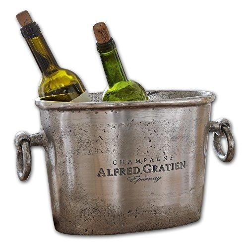 LOBERON Sektkühler Alfred, Flaschenkühler, Weinkühler, Aluminiumguss, silber