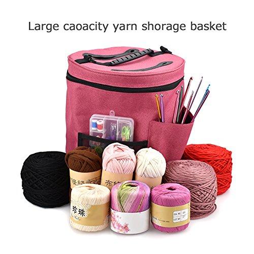 Bolsa almacenamiento ovillos lana tejer hacer ganchillo