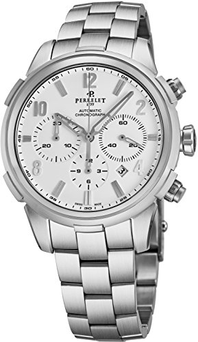 Perrelet Class-T Chrono Mens Automatic Chronograph Watch Stainless Steel Band - 44mm Analog White Face Wrist Watch with Date and Sapphire Crystal - Swiss Made Waterproof Luxury Watches for Men A1069/A