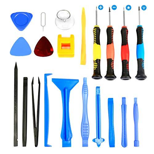 Flylinktech Werkzeug Set 21 in 1 Profi Reparatur Tool Kit Schraubenzieher-Kit für iPhone, iPad, Tablets, Laptops (21)