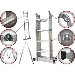 6 en 1 Échelle Pliante Télescopique Aluminium Multifonction Extensible et Polyvalente Escabeau à Haute Résistance avec Charnières de Sécurité Certifié EN131-16 - Sotech