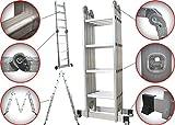 6 en 1 Échelle Pliante Télescopique Aluminium Multifonction Extensible et...