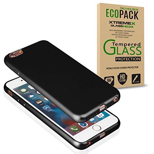 EGO Für iPhone 5 / 5S / SE Luxury Case Slim Rot Matt Metallic Bumper Silikon Schale Schutzhülle Anti-Fingerabdruck satin Rückseite Schwarz + Glas