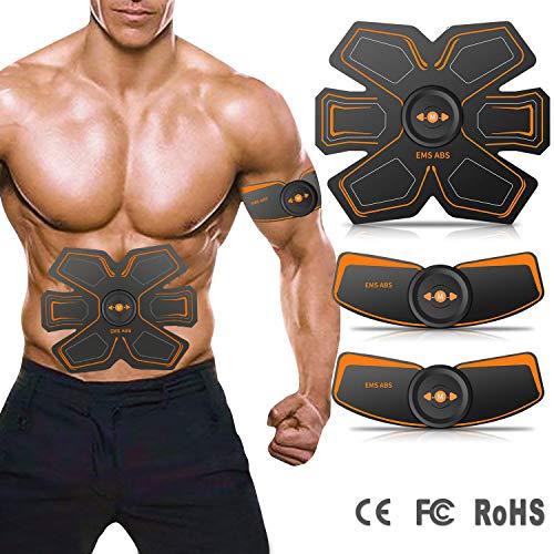 LOXIN Elettrostimolatore per Addominali, Electric Massager, Braccia, Gambe,Fascia per Addome Pratico e Leggero Uomo e Donna 10 Intensità