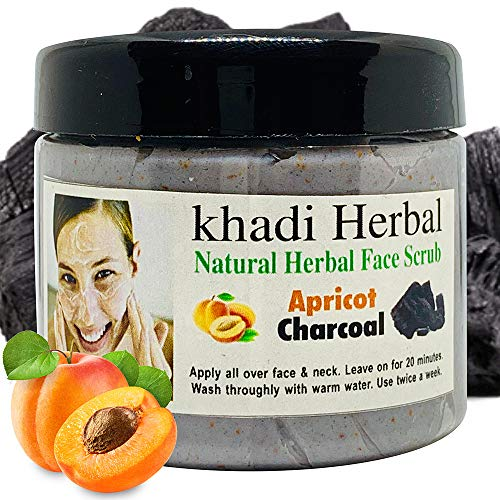 Khadi Herbal Natural Apricot & Charcoal Face Scrub 180g || (Pack Of 1)