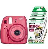 Fujifilm Instax Mini 8 - Cámara instantánea (flash, 1/60 sec) color rojo + 5 paquetes de películas fotográficas instantáneas (10 hojas)