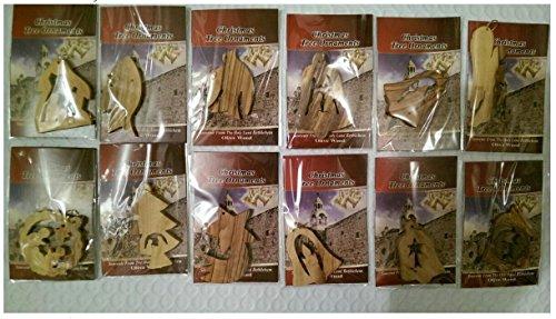 Bethlehem Olivenholz Christmas Ornaments komplett Set. Krippe Story von Bethlehem Gifts TM, holz, 12 Stück
