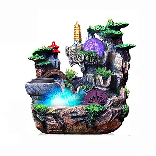 KEOA Zimmerbrunnen Feng Shui Ornamente, Harz-Wasserfall für Wohnkultur mit LED-Farblichtern/Kristallkugel/Wasserpumpe,B