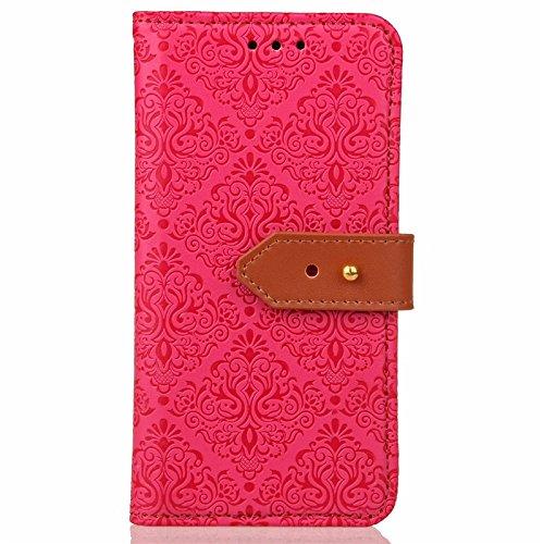 YHUISEN Galaxy J7 Prime Case, Magnetische Verschluss Europäische Art Wandgemälde prägeartig PU Leder Flip Wallet Fall mit Stand und Card Slot für Samsung Galaxy J7 Prime / On7 2016 ( Color : Khaki ) Rose