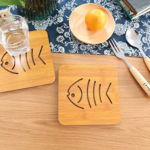 Nordic Pastoralen Stil Nette Kätzchen Fisch Muster Tasse Tischset Kreative Holzachterbahn Anti-hot Mat Pot Matte Anti-Skid Pad, Fisch ()