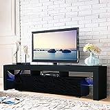 Warmiehomy 130CM High Gloss Modern LED TV Cabinet-LED TV Unit Stand Black RGB LED Gloss Shelves Home Furniture for Living Room