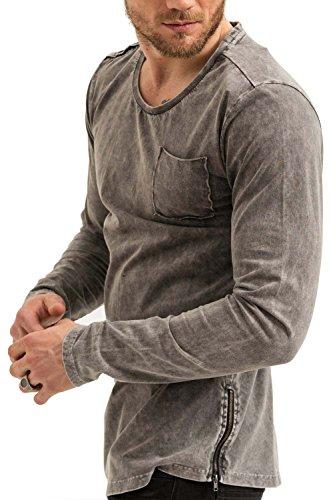 trueprodigy Casual Herren Marken Long Sleeve einfarbig Basic, Oberteil cool und stylisch mit Rundhals (Langarm & Slim Fit), Langarmshirt für Männer in Farbe: Grau 1073140-0403 Anthracite