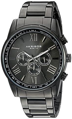 Akribos XXIV - Homme - AK736BK - Mouvement Cristal de Roche - Affichage Analogique - Cadran Gris - Noir- Bracelet Alliage