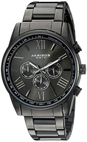 Akribos XXIV Men's Three-Hand Quartz Watch with Round Grey Dial Analogue Display and Black Bracelet AK736BK