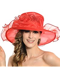 435e882d Discoball Women's Sun Hat - Floral Organza Flat Large Wide Brim Gauze  Kentucky Derby Cap -