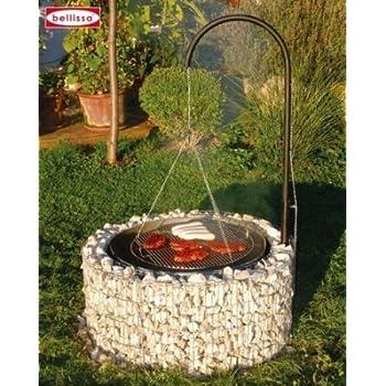 bellissa gabionen feuer und grillstelle inkl grillrost galgengrill 92 72 cm garten. Black Bedroom Furniture Sets. Home Design Ideas