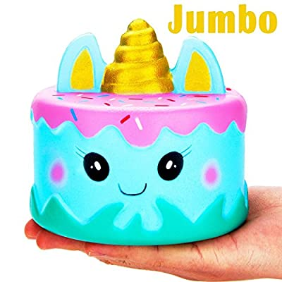 BicasLove Jumbo Squishy Kawaii Cute Unicorn Mousse Cream Scented Squishies Slow Rising Kids Toys Doll Stress Relief Toy Hop Props, Decorative Props Large (Narwhal Cake)