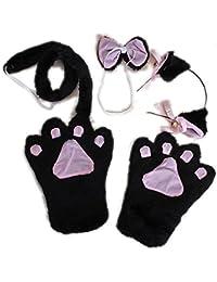 Okpow Kit Cosplay/déguisement Lolita avec pattes, oreilles à grelots, queue de chat, nœud papillon