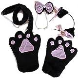 Trendyline - Conjunto de accesorios para disfraz de gato, incluye garras, orejas con cascabeles, cola y pajarita negro
