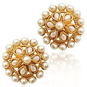 Flower Pearl Tradition India Ethnic Bollywood Earrings StudABEA0259WH