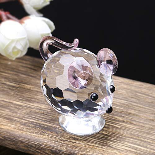 HDCRYSTALGIFTS Kleine Kristall-Figuren mit Pinker Maus aus klarem Glas für Tiere, Sammlerstück, Geschenk für Zuhause