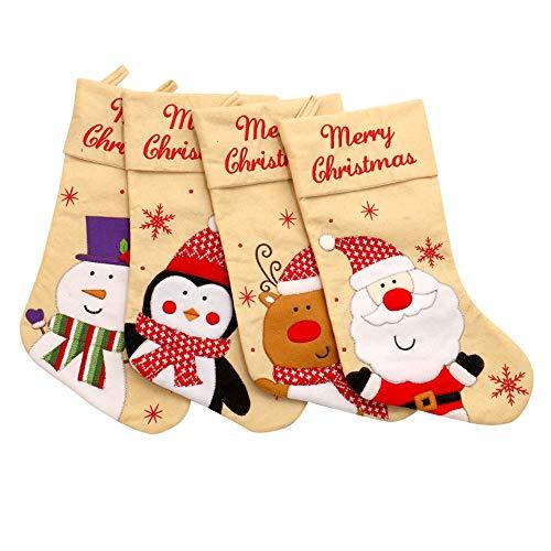 Nobrannd Weihnachtsfeiertags-Socken 18 Zoll Weihnachtsstrümpfe (4 Große Größen) Bestickte Leinen Khaki Ornamente Hauptdekorationen Warm Cozy Socken (Color : Khaki, Size : 46x26CM) -