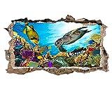 tekkdesigns W216Schildkröte Aquarium Fish Ocean Sea Coral Wand Aufkleber 3D Poster Art Aufkleber Vinyl Zimmer (groß (90x 52cm))