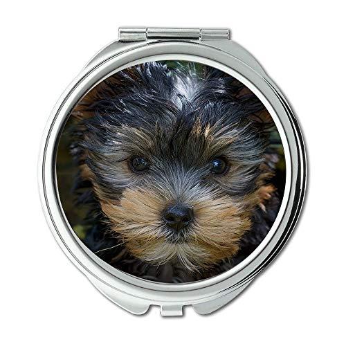 Yanteng Spiegel, Schminkspiegel, Hund Welpe Yorkshire Terrier Yorkshire Terrier Welpe, Taschenspiegel, tragbarer Spiegel