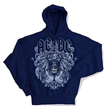 AC/DC - Crest Bell Adult Hooded Sweater In Navy, Small, Navy