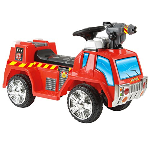 Toyrific 6v Battery Powered Electric Fire Engine Ride on Car Truck Vehicle With Bubble Gun Function Age 3-6 Years