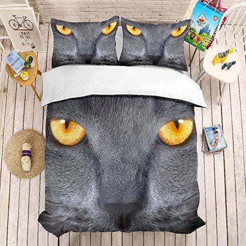 JSDJSUIT Bettwäsche-Set MUSOLEI 3D Bettwäscheset Cat Head, Close-up Bettwäscheset Twin Queen King Size, EU King 3tlg (Cat King-size-quilt)