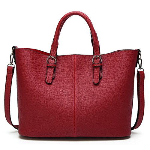 Donna Borse Di Moda Pu Stile Europeo Mosaico Texture Borsa A Tracolla Portafogli Grande Capacità Borsa Red