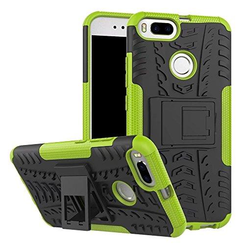 SMTR Xiaomi Mi A1 Case Dual Layer Custodia ibrida Rigida Morbido Armatura resistente agli urti con Supporto e asportabile di protezione per Xiaomi Mi A1 Verde