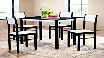 Wooden Dining Table and 4 Chairs Set in Wenge/White Rubber Wood and MDF produced by 7Star Furniture - quick delivery from UK.