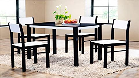 Wooden Dining Table and 4 Chairs Set in Wenge/White Rubber Wood and MDF