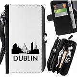STPlus Dublín, Irlanda Postal con silueta del horizonte de la ciudad Monedero Con Correa y Cremallera Carcasa Funda para Sony Xperia M5 / Xperia M5 Dual