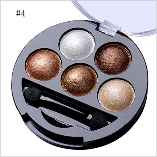 SUNMUCH Professionelle Augen Make-up Pigment Glitter Lidschatten 5 Farben Lidschatten-Palette Schönheit Werkzeug Make-Up Pinsel