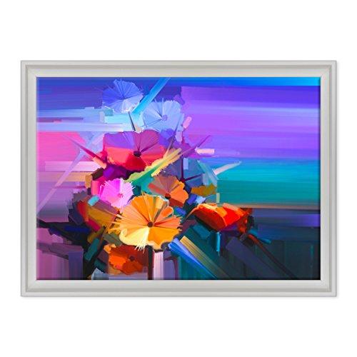 Bild auf Leinwand Canvas-Gerahmt-fertig zum Aufhängen-Blumen Abstrakt-Damien Hirst Dimensione: 50x70cm C - Colore Bianco Contemporaneo