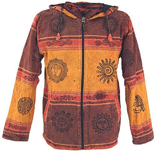 Guru-Shop Goa Jacke, Ethno Kapuzen Jacke, Herren, Rostorange, Size:XL, Jacken, Ponchos Alternative Bekleidung