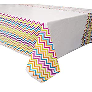Mantel de Plástico - 2,13 m x 1,37 m - Fiesta Arcoíris Chevrón