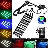 YiYunTE Tira LED RGB - 4 in 1 Lámpara Barra 36 LED Luz Decorativa Atmósfera Interior Decoration Luz Atmósfera 8 Color RGB Control de Voz Música para Coche Auto con Mando a Distancia Inalámbrico