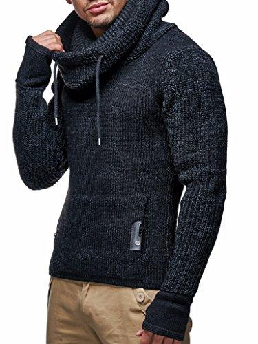 Leif Nelson Herren Strick-Pullover Strick-Pulli mit Schalkragen Moderner Woll-Pullover Langarm-Sweatshirt Slim Fit, Schwarz Meliert, M