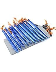G2plus Piquetas, 10 piezas, con cuerda, ideales para ir de camping o para la playa, azul
