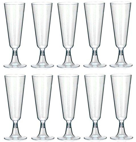 Preisvergleich Produktbild 100 Einweg Sektgläser aus Plastik 0,1l Trinkbecher Hartplastik Sektkelche | Champagnergläser aus Kunsstoff | Sektglas Sekt-Cocktail-Saft-Becher | Qualität von STAR-LINE®